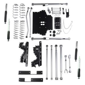 Rubicon Express Part RE7214M - Rubicon Express 4.5 Inch Extreme-Duty Long Arm Lift Kit with Rear Track Bar with Mono Tube Shocks - RE7214M-SLVMSWS-P03