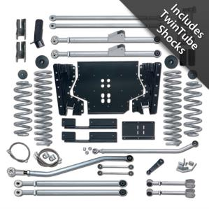 Rubicon Express Part RE7224T - Rubicon Express 4.5 Inch Extreme-Duty Long Arm Lift Kit with Rear Track Bar with Twin Tube Shocks - RE7224T-WS3